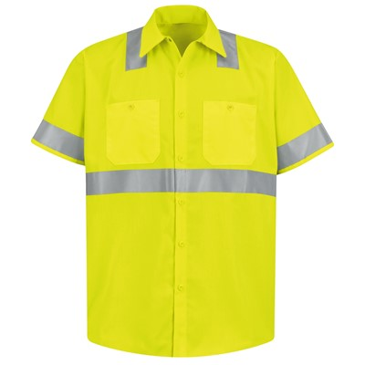 Red Kap Short Sleeve Hi-Visibility ANSI Class 2 Work Shirt